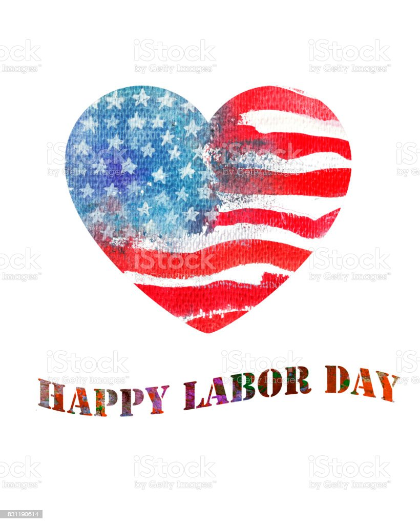 Watercolor heart shaped american flag. Happy Labor Day. vector art illustration