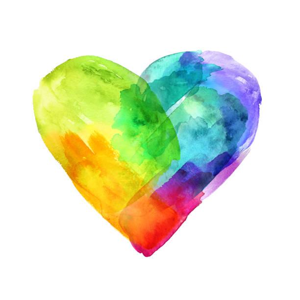 bildbanksillustrationer, clip art samt tecknat material och ikoner med vattenfärg hjärtsymbol, texturerat, hand målade penseldrag, spektrum, dab, smeta, konstnärliga grunge banner isolerad på vit bakgrund - homosexuell