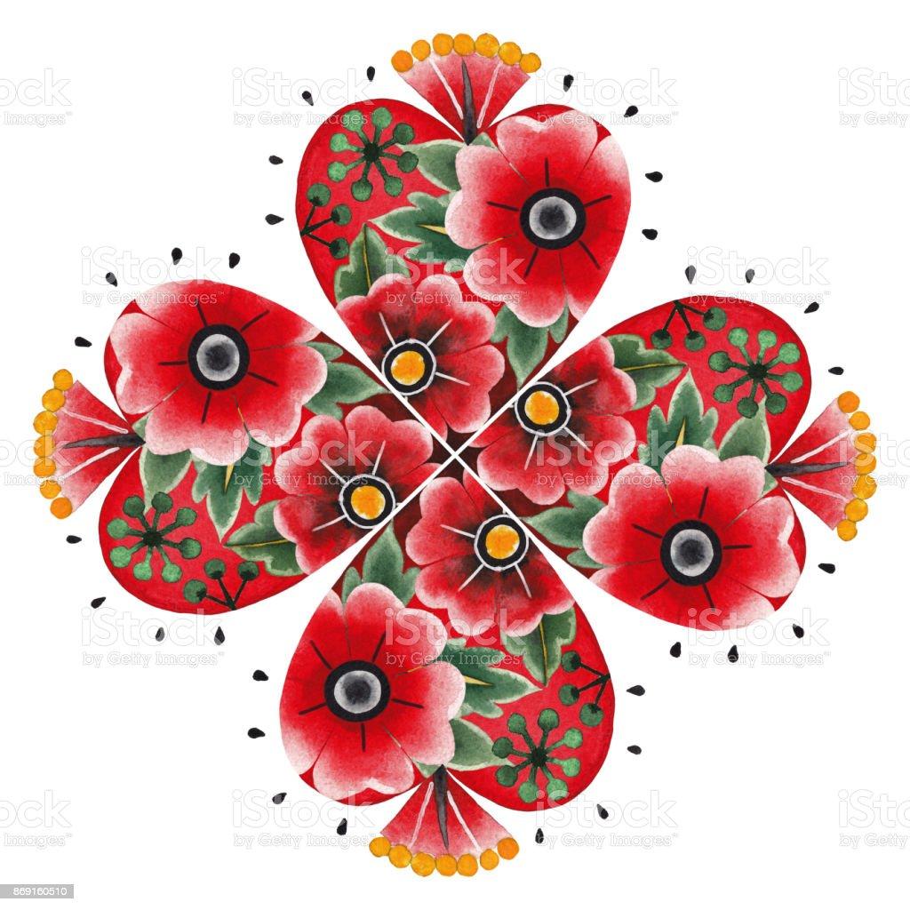 Suluboya Kalp çiçek Süslemeleri Ile Stok Vektör Sanatı Abdnin