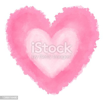 istock Watercolor heart-shaped pink 1289516480