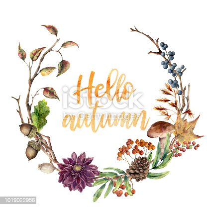 Watercolor Hello autumn wreath. Hand painted wreath with acorn, mushroom, cone, berries, tree branch, flower and leaves on white background. Illustration for design, fabric or background