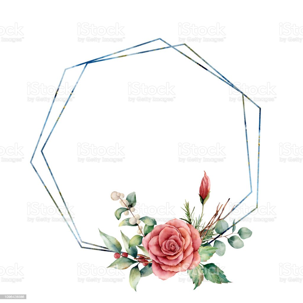 watercolor hexagonal frame with floral bouquet hand drawn. Black Bedroom Furniture Sets. Home Design Ideas