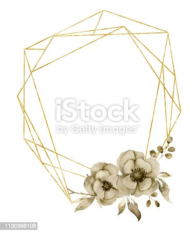 Watercolor hexagonal golden frame with monochrome floral anemone bouquet. Hand drawn modern label with leaves, branches and flowers isolated on white background. Greeting template for design, print