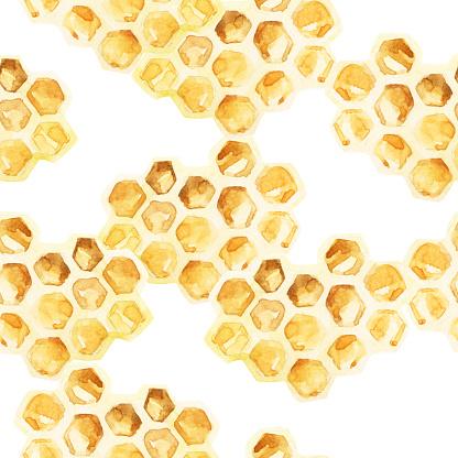 Watercolor Honeycombs Seamless Pattern - Immagini vettoriali stock e altre immagini di Alveare
