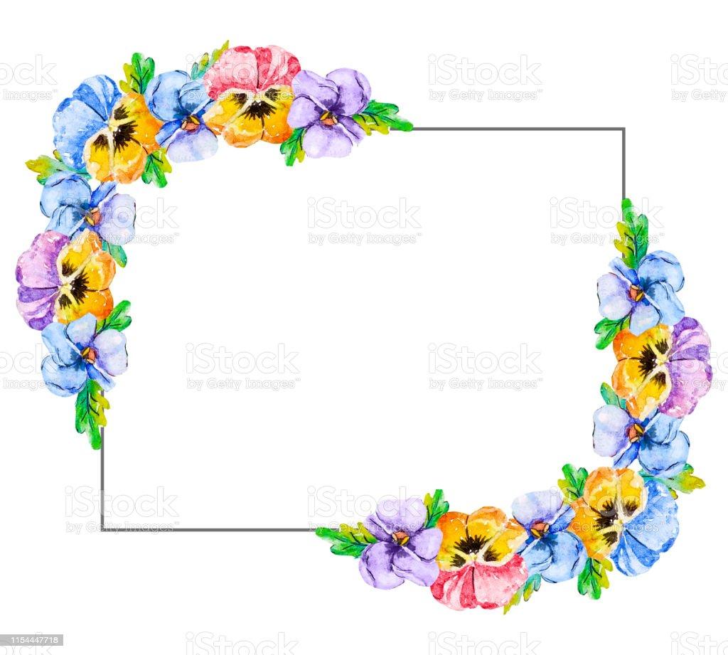 Cadre Floral Horizontal Aquarelle Bordure De Fleur Pansy Et