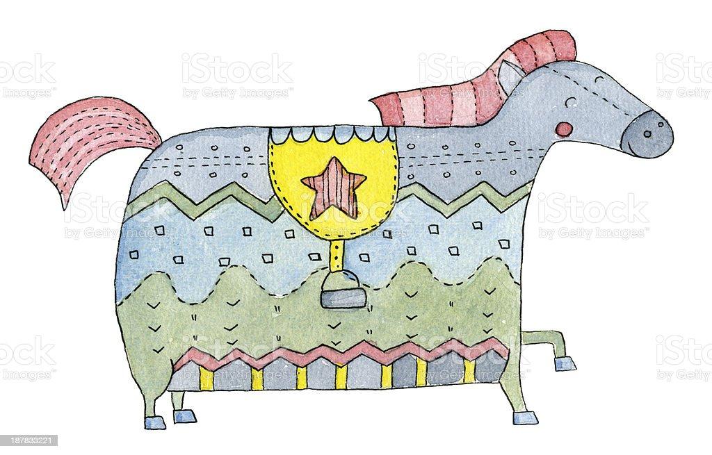 Watercolor Horse vector art illustration