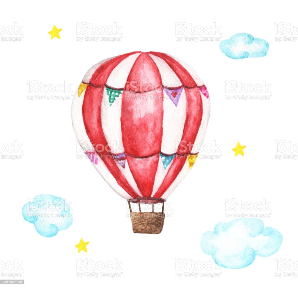 Beyaz Arka Plan Uzerinde Izole Suluboya Sicak Hava Balonu Bulutlar
