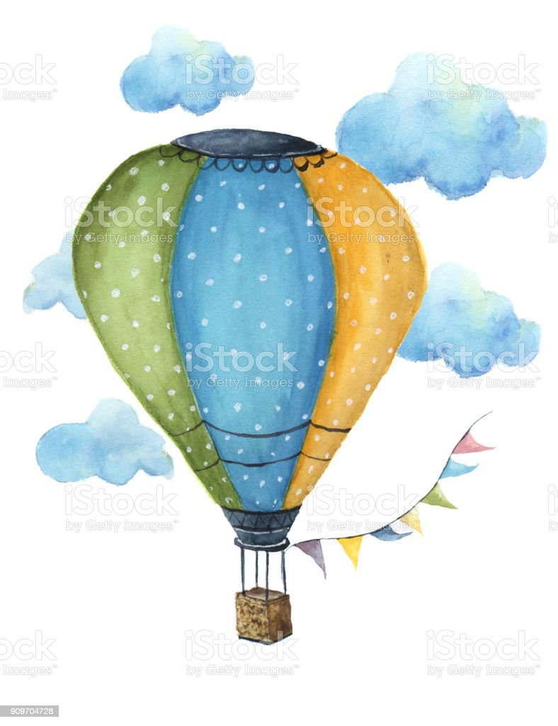 Suluboya Sıcak Hava Balon Seti El Vintage Hava Balonları Bayrakları