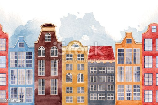 Beautiful seamless pattern with watercolor old city houses