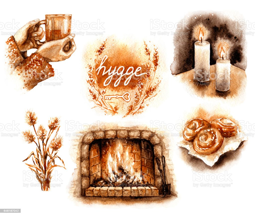 Watercolor Hygge Elements Set vector art illustration