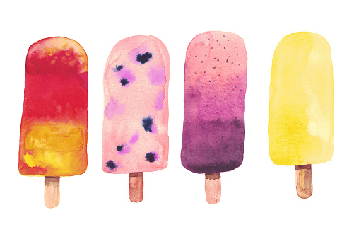 Watercolor ice cream on a stick