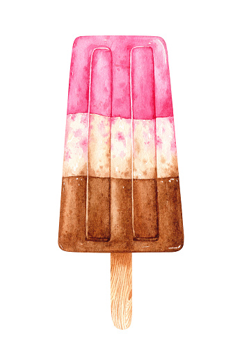 Watercolor ice cream with a three-layer filling on a stick