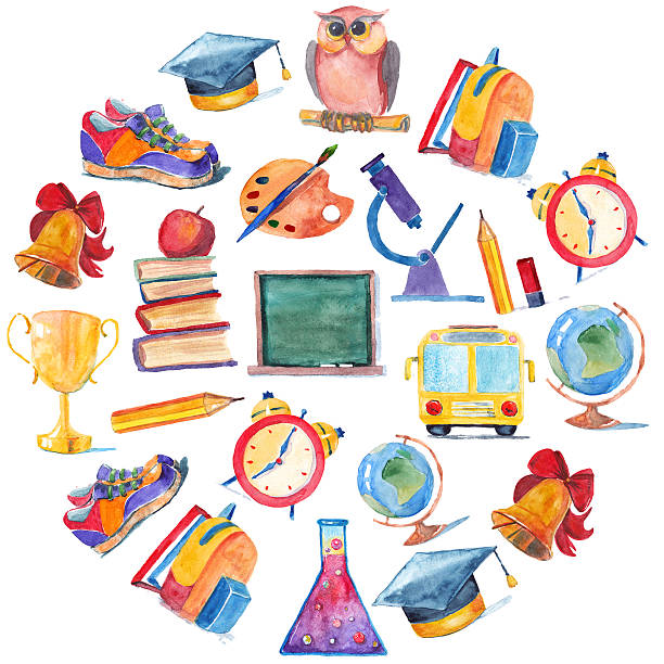 Watercolor icons School and education vector art illustration