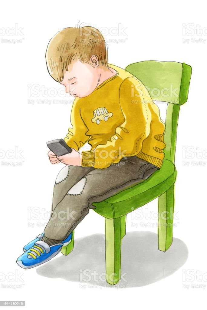 The white child in sweater and pants is sitting on the chair and  sc 1 st  iStock & Watercolor Illustartion The White Child In Sweater And Pants Is ...