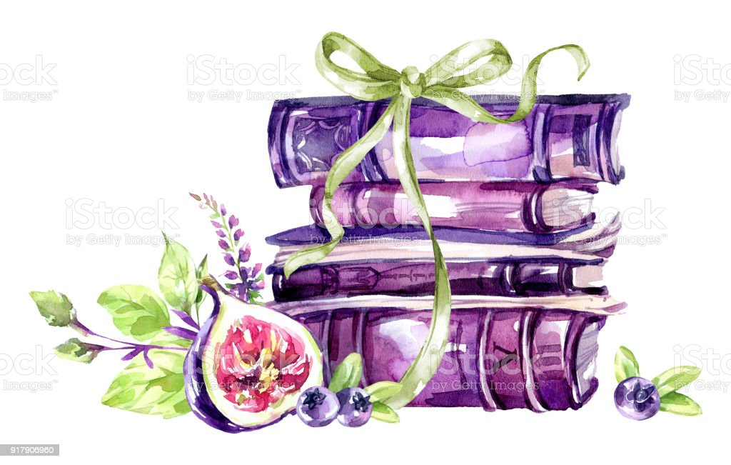 Watercolor Illustration A Pile Of Old Books With A Bow Figs Leaves ...