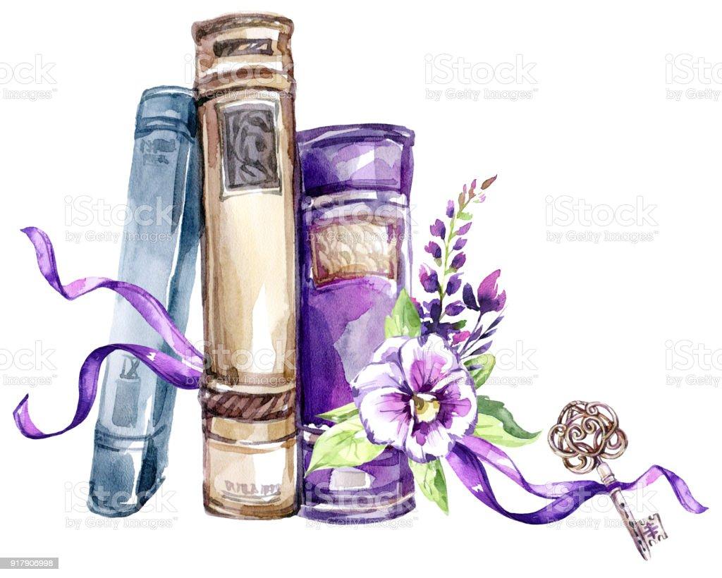 Ilustración de Ilustración Acuarela Una Pila De Libros Antiguos Con ...