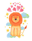 Watercolor illustration animal cute lion on a white background, heart,star,clouds. Hand draw illustration. Valentine's card.
