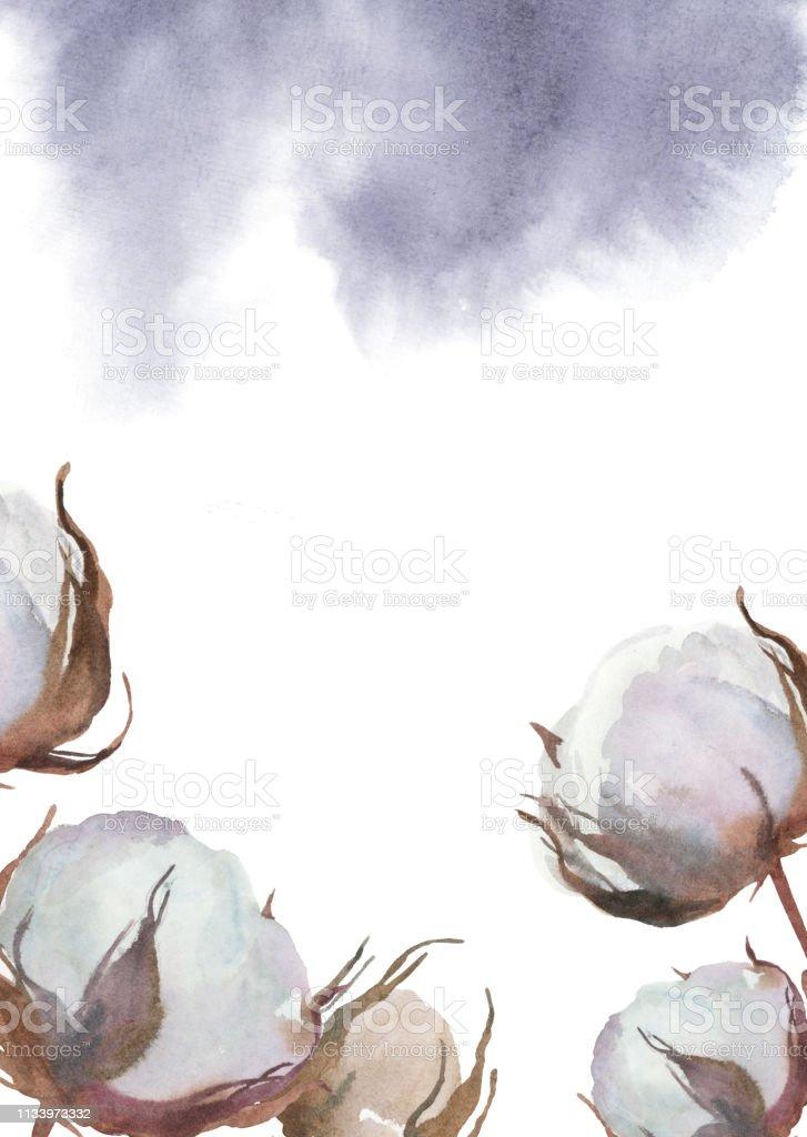 Ilustración De Ilustración De Acuarela Fondo Con Cogollos De