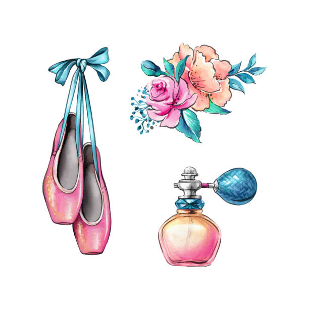 watercolor illustration, ballerina shoes, flowers, fragrance jar, retro fashion accessories isolated on white background vector art illustration