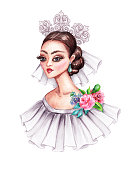 watercolor illustration, beautiful young woman portrait, braid in wedding dress with ruffle, flowers, hair style, vintage clip art isolated on white background