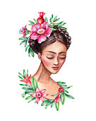 watercolor illustration, beautiful young woman portrait, braid decorated with pomegranate flowers, green leaves, hair style, clip art isolated on white background