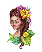 watercolor illustration, beautiful young woman portrait, braid decorated with tropical flowers, wild jungle, hair style, clip art isolated on white background