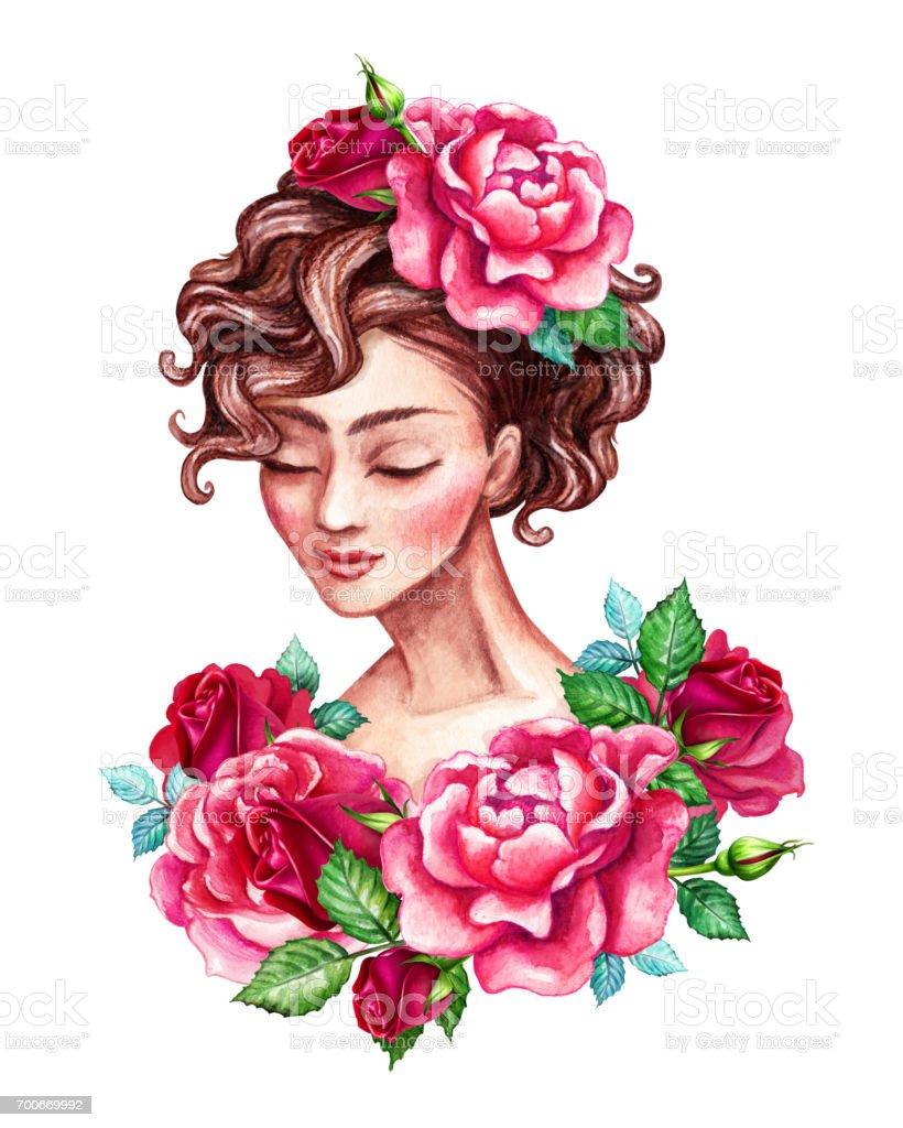 Sulu Boya Resim Guzel Genc Kadin Portre Romantik Sofistike Bayan