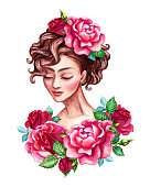 watercolor illustration, beautiful young woman portrait, romantic sophisticated lady, short curly hair decorated with red rose flowers, clip art isolated on white background