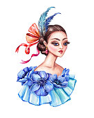 watercolor illustration, beautiful young woman portrait, Victorian lady, floral dress, blue anemone flowers, feathers, hair style, vintage clip art isolated on white background
