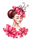watercolor illustration, beautiful young woman portrait, wearing fashionable hat, sophisticated French lady, red ruffle dress, clip art isolated on white background