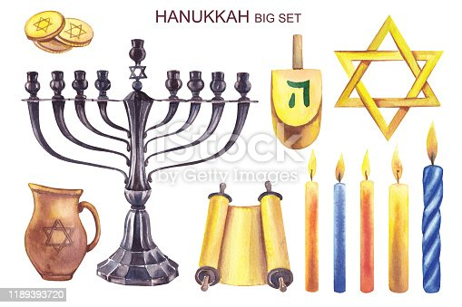 istock Watercolor illustration. Big set of elements for the celebration of Hanukkah. Menorah, parchment, candles, jug with oil, coins, star of David on a white background. 1189393720