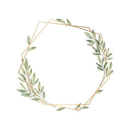 Watercolor illustration. Botanical golden frame with green leaves and branches. Floral Design elements. Greenery frame. Perfect for wedding invitations, greeting cards, posters, prints