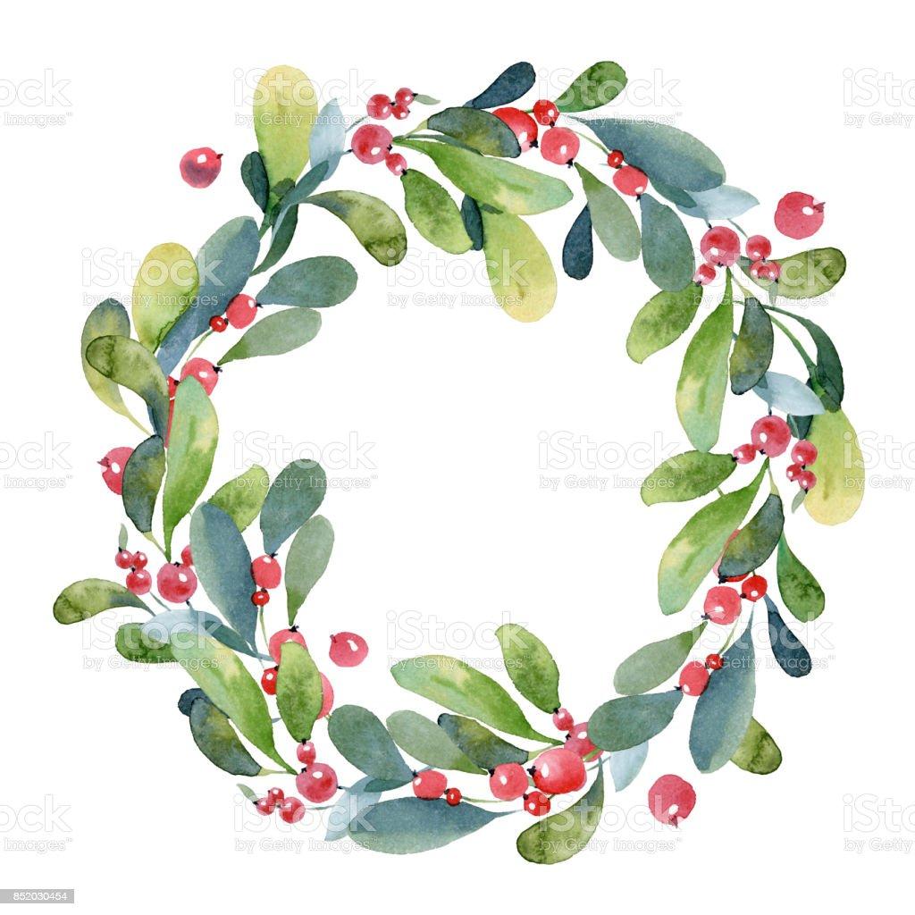 Ilustração de aquarela. Guirlanda de Natal de ramo de buxus verde, folhas e frutas vermelhas - ilustração de arte em vetor