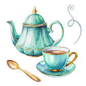 istock watercolor illustration, cup of tea, teapot, spoon, isolated on white background 664699282