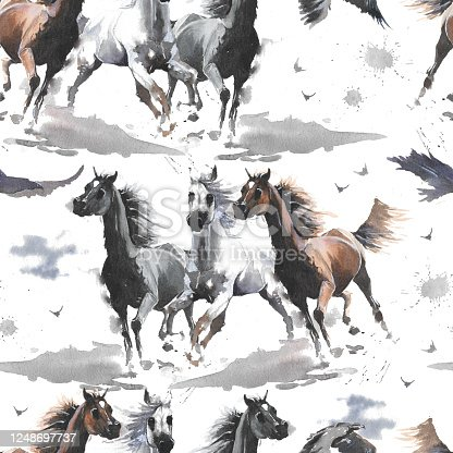 istock Watercolor illustration. Cute cartoon. Seamless pattern. Horses white and dark brown, eagle. Mustang wild Arabian. 1248697737