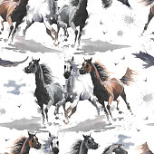 istock Watercolor illustration. Cute cartoon. Seamless pattern. Horses white and dark brown, eagle. Mustang wild Arabian. 1248697737