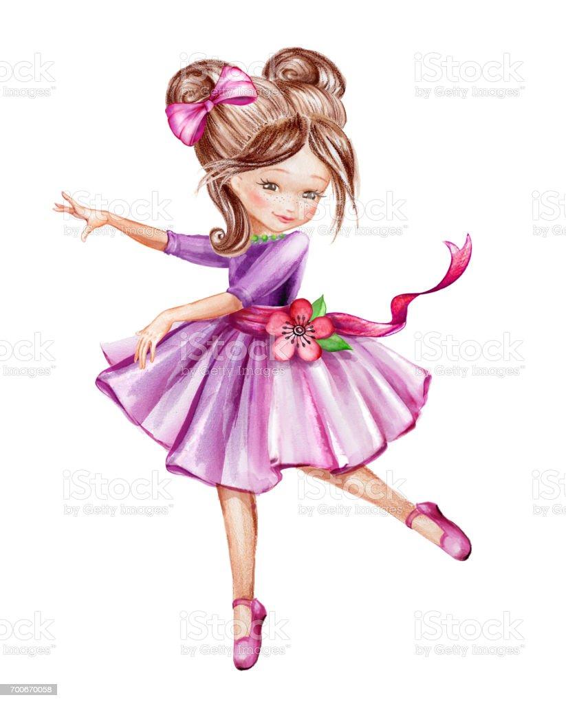 Sulu Boya Resim şirin Küçük Balerin Genç Kız Pembe Elbisesi Dans