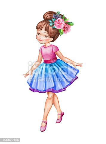 Watercolor Illustration Cute Little Ballerina Young Girl