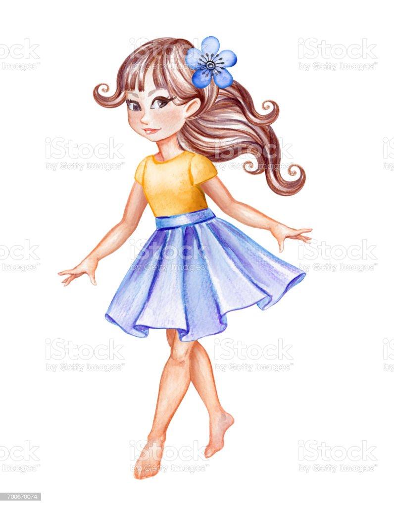 白い背景に分離された水彩イラスト 青いスカート歩いて素足踊り子供