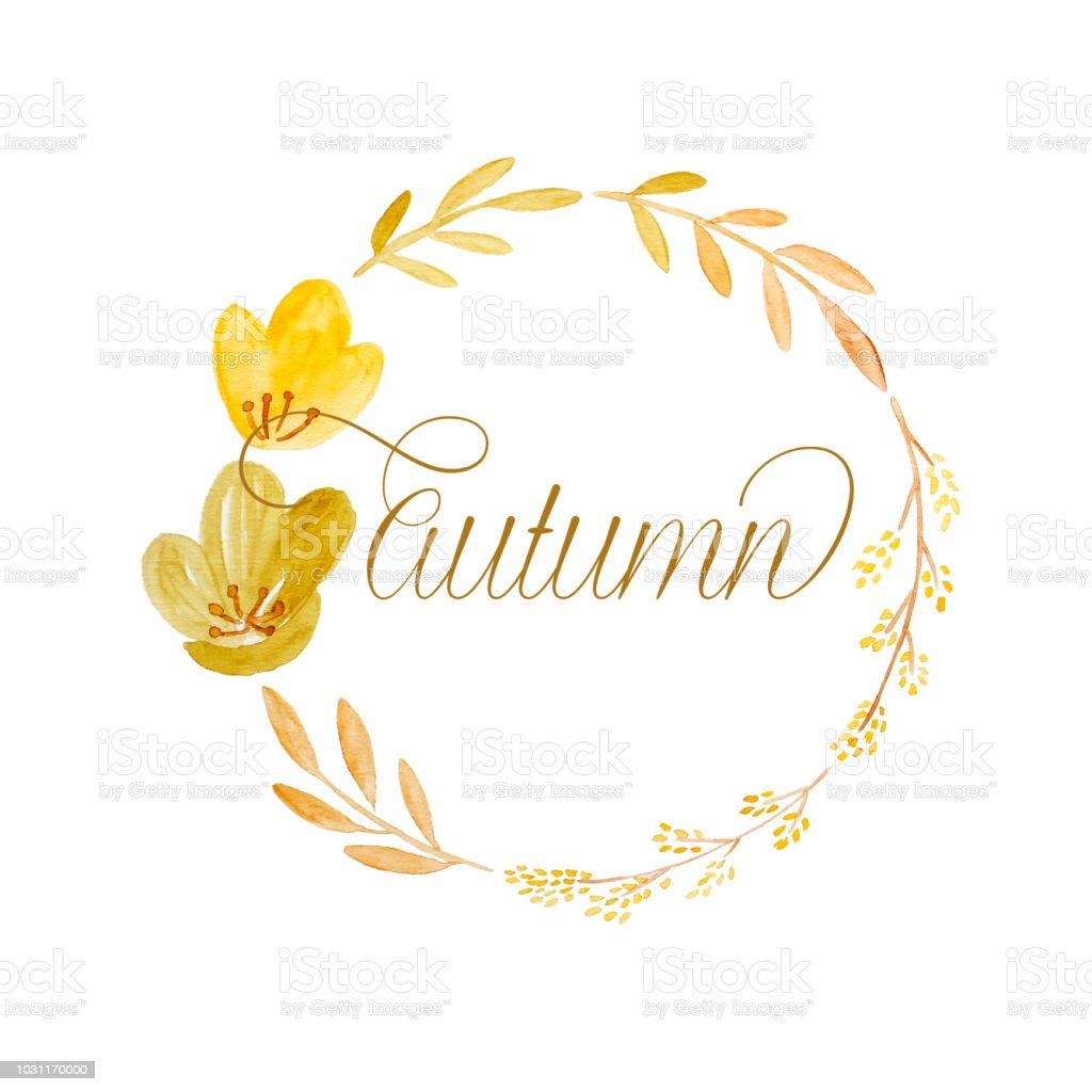 Watercolor Illustration Design Autumn Word And Drawing Autumn
