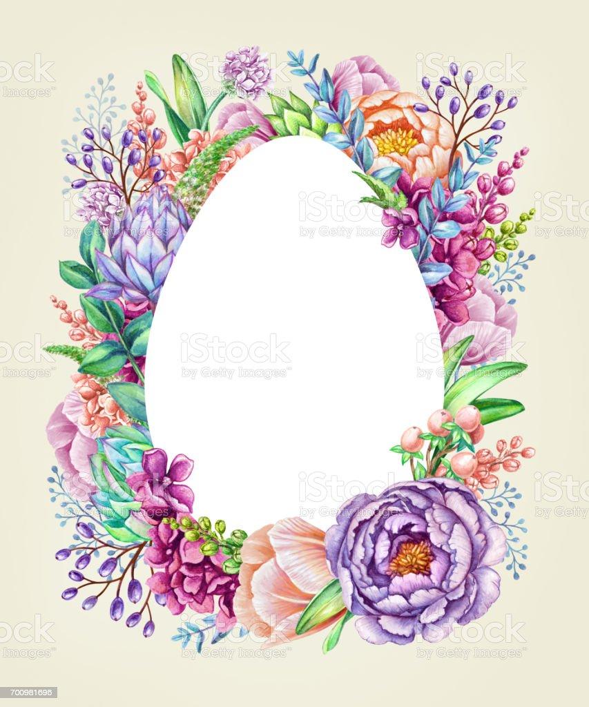 Aquarell Illustration Ostern Floraler Hintergrund Wildblumen Ei ...