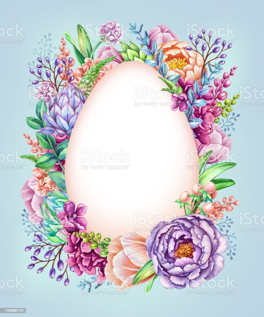 watercolor illustration easter floral background wild flowers egg