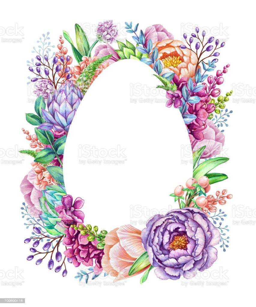 Watercolor Illustration Easter Floral Background Wild Flowers Egg