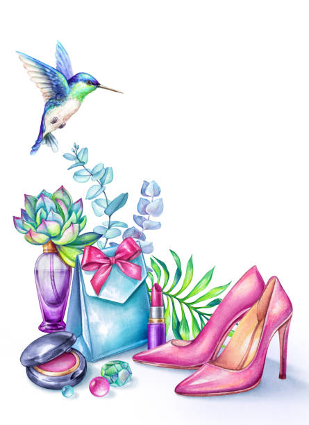 watercolor illustration, fashion elements isolated on white background, beauty blogger, bridal shower invitation, pink high heels shoes, gift box, tropical flowers, eucalyptus leaves, hummingbird - prom fashion stock illustrations, clip art, cartoons, & icons