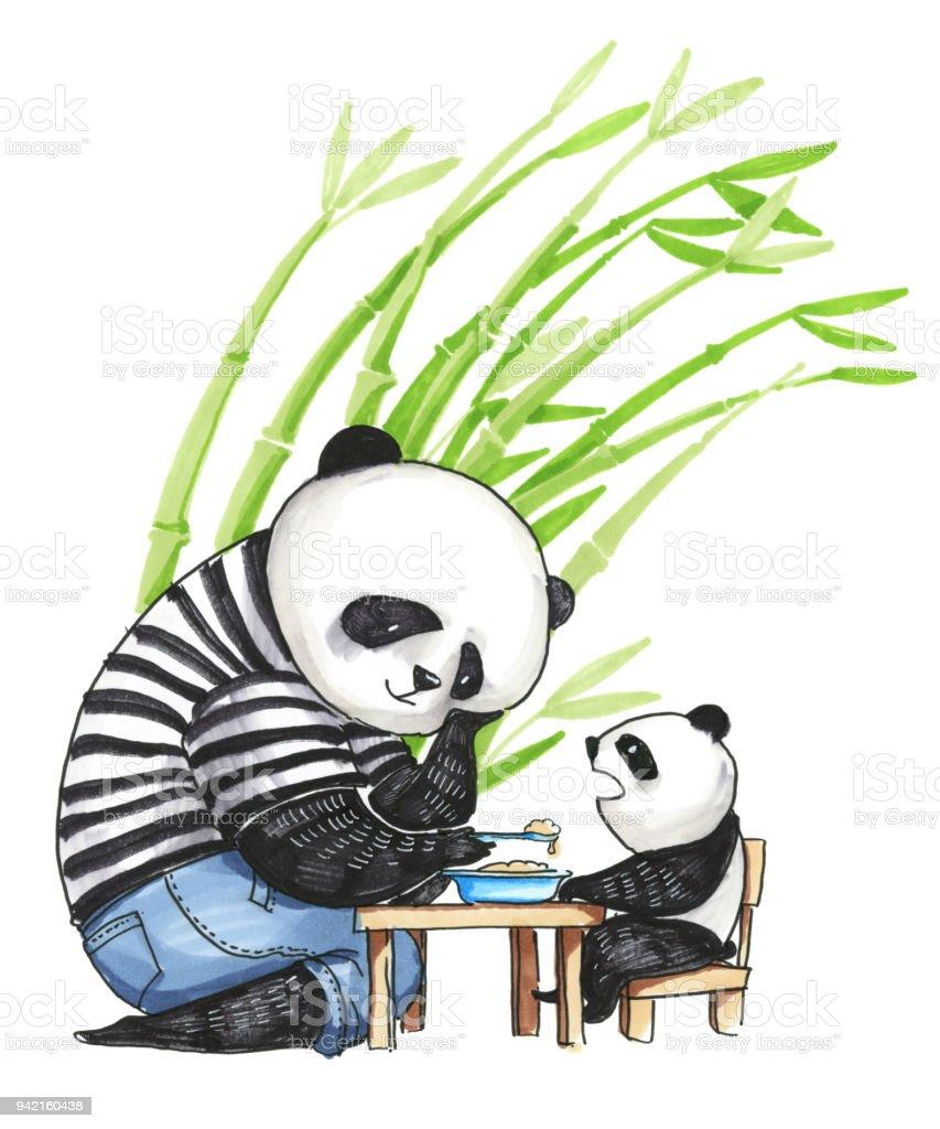 Sulu Boya Resim Babasi Panda Icinde Siyah Ve Beyaz Tshirt Onun