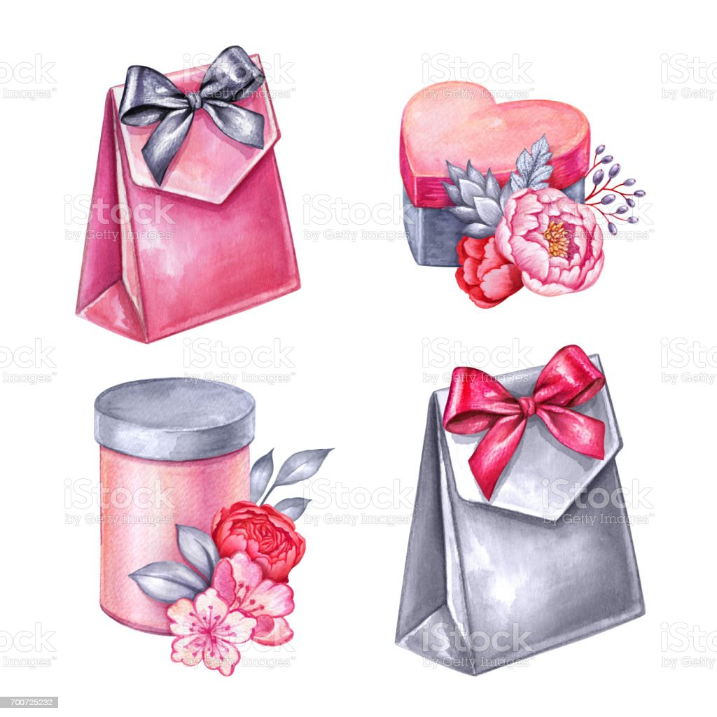 Watercolor Illustration Festive Clip Art Party Accessories Heart ...