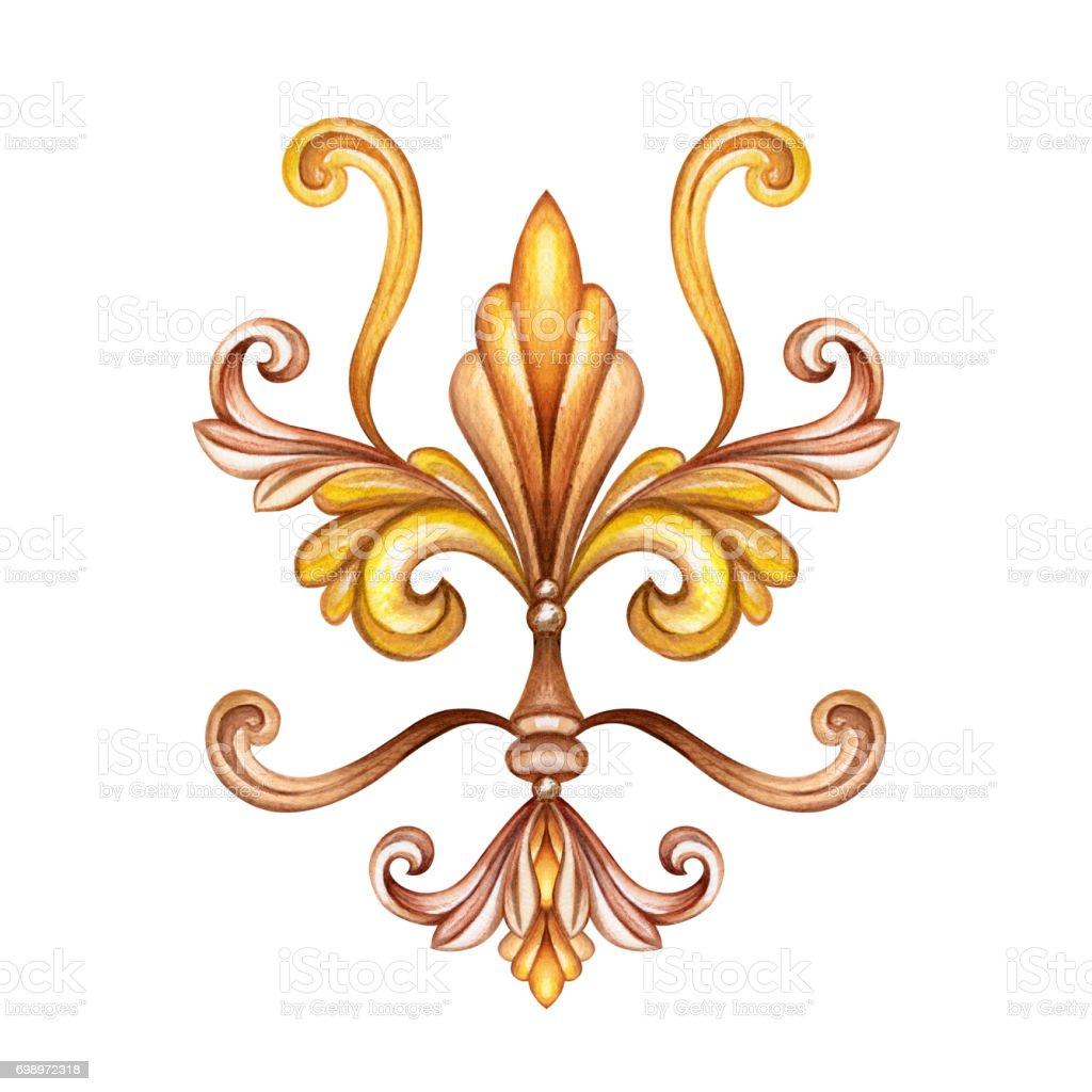 watercolor illustration, fleur de lis, acanthus, abstract decorative element, isolated on white background, vintage ornament clip art vector art illustration