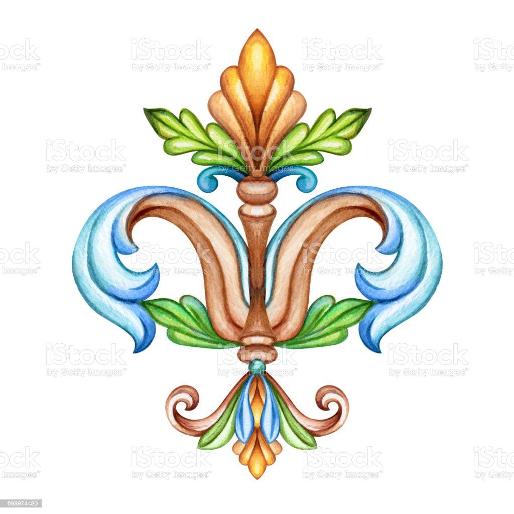 Watercolor Illustration Fleur De Lis Acanthus Abstract
