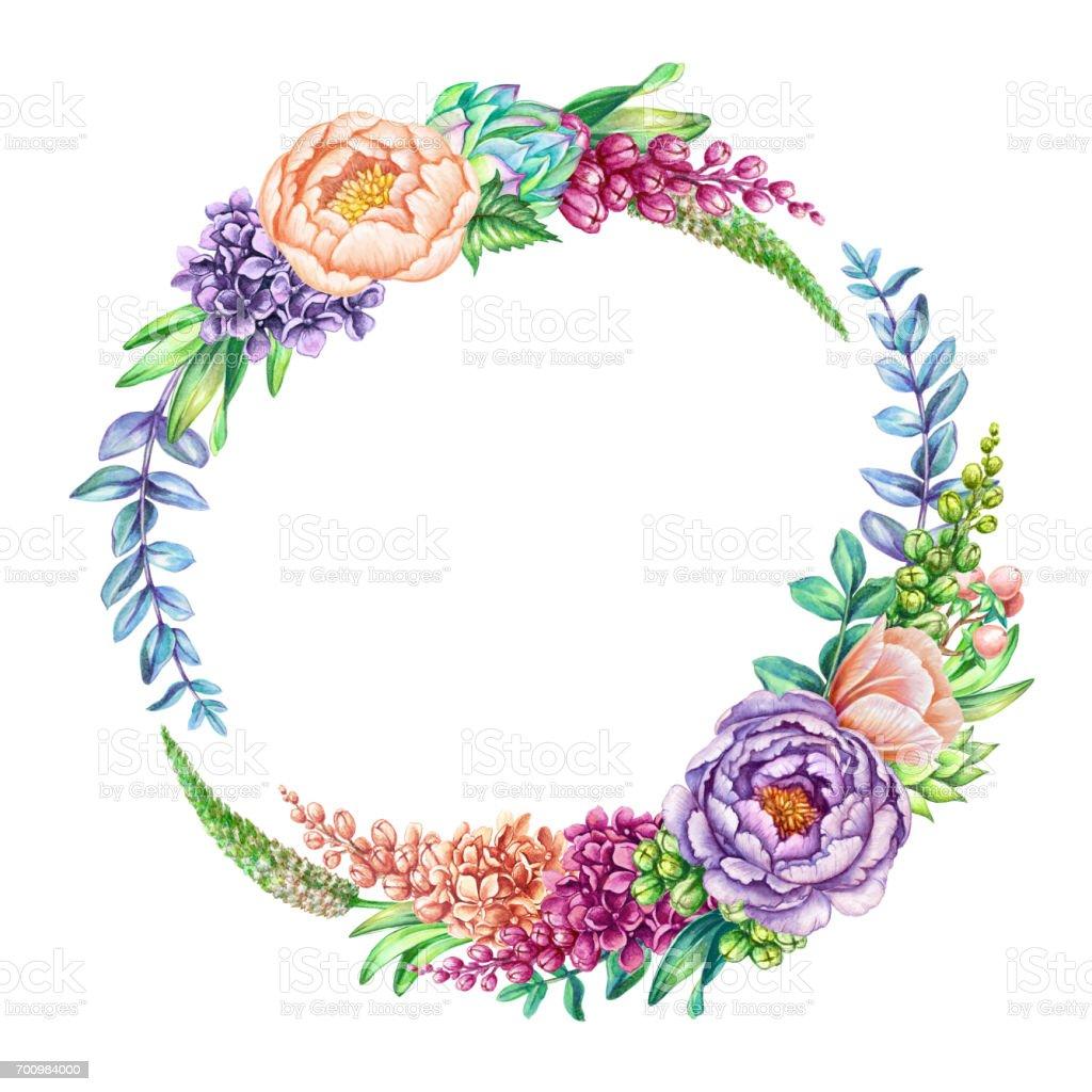 Sulu Boya Resim çiçek Arka Plan Muhteşem Kır çiçekleri Yuvarlak