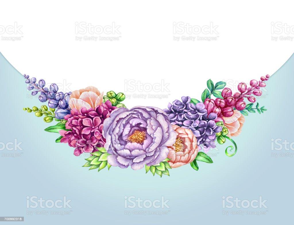 Aquarell Illustration Floraler Hintergrund Wilde Blumen Blumenstrauß ...